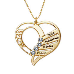 Engraved Mom Birthstone Necklace in 10K Yellow Gold product photo