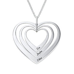 Family Hearts necklace in Sterling Silver product photo
