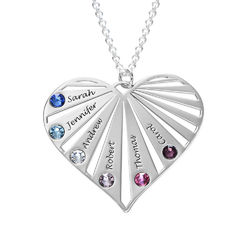 Family Necklace with birthstones in Silver Sterling product photo