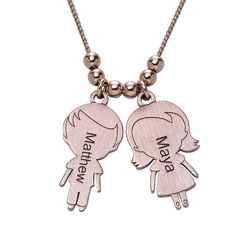 Mom Necklace with Children Charms in Rose Gold Plating product photo