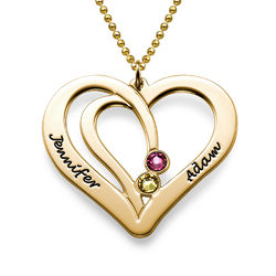 Engraved Couples Birthstone Necklace in 10K Solid Gold product photo