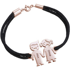 Kids Holding Hands Charms Bracelet - Rose Gold Plated product photo