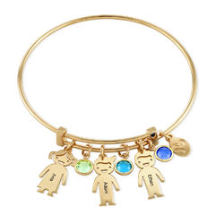 Gold Plated Bangle Bracelet with Kids Charms product photo