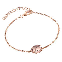 Stone Engraved Bracelet in Rose Gold Plating product photo