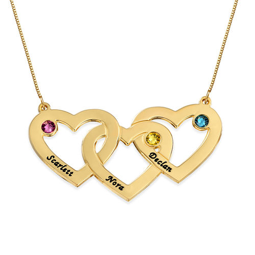 10K Intertwined Hearts Birthstone Gold Necklace