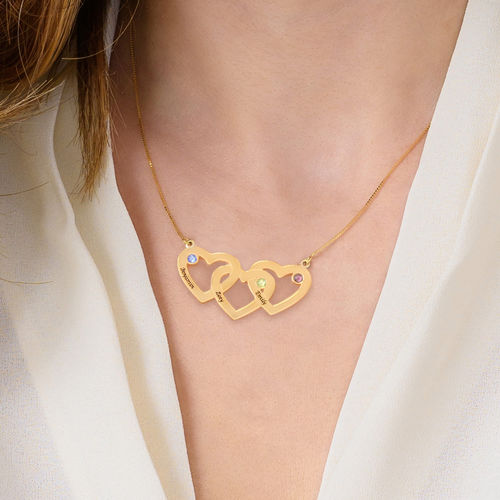10K Intertwined Hearts Birthstone Gold Necklace - 1