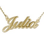 14k Gold Double Thickness Classic Name Necklace With Twist Chain