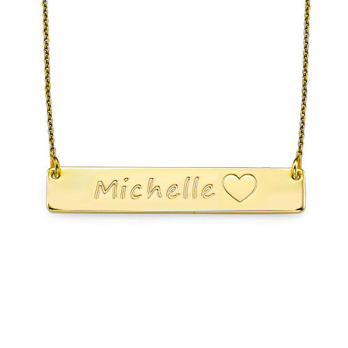 18K Gold Plated Icon Bar Necklace