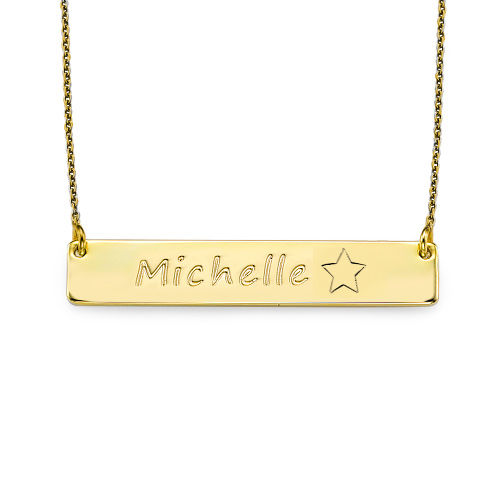 18K Gold Plated Icon Bar Necklace - 1