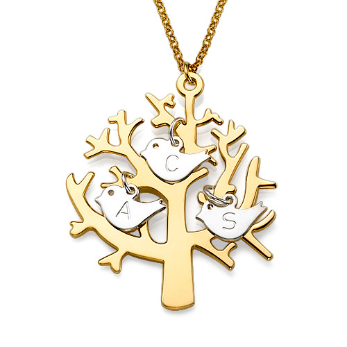 18K Gold Plated Tree Necklace with Sterling Silver Initial Birds