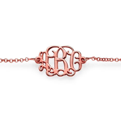 18K Rose Gold Plated Silver Monogram Bracelet / Anklet - 1