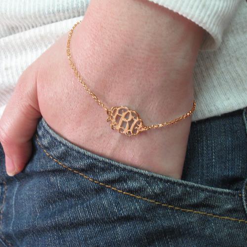 18K Rose Gold Plated Silver Monogram Bracelet / Anklet - 2