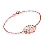 18K Rose Gold Plated Silver Monogram Bracelet / Anklet