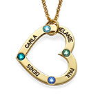 18k Gold Plated Birthstone Heart Necklace