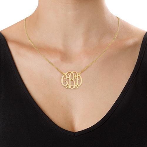 18k Gold Plated Celebrity Monogrammed Necklace - 1