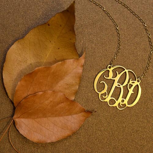 18k Gold Plated Celebrity Monogrammed Necklace - 2