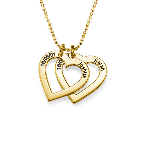 18k Gold Plated Sterling Silver Engraved Heart Necklace - 1