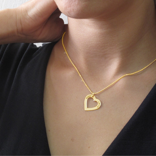 18k Gold Plated Sterling Silver Engraved Heart Necklace - 2