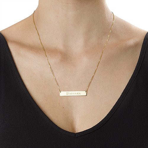 18k Gold Plated Silver Bar Necklace - 1