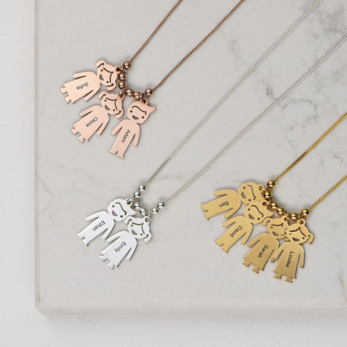 18k Gold Plated Sterling Silver Mother's Necklace with Engraved Children Charms - 3