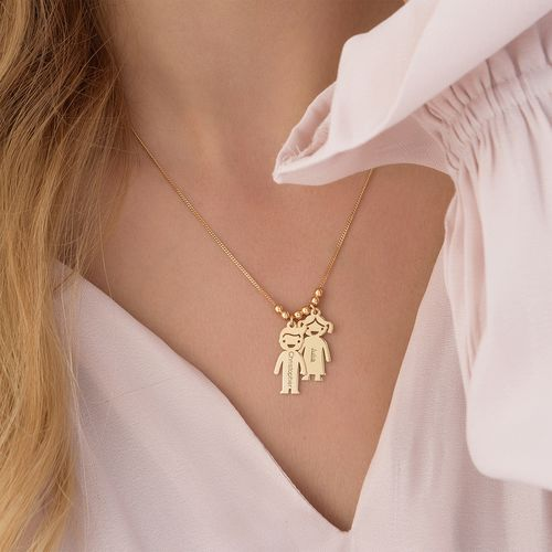 18k Gold Plated Sterling Silver Mother's Necklace with Engraved Children Charms - 5