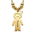 18k Gold Plated Sterling Silver Mother's Necklace with Engraved Children Charms
