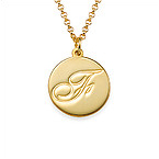18k Gold Plating Script Initial Necklace