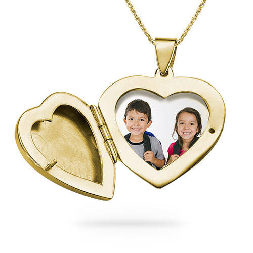 18k Gold plated Engraved Heart Locket Necklace - 1