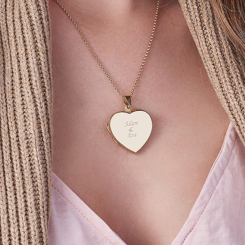 18k Gold plated Engraved Heart Locket Necklace - 3