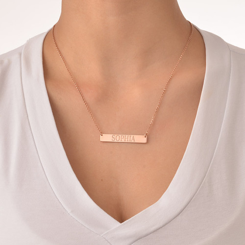 18k Plated Rose Gold Bar Necklace with Engraving - 1