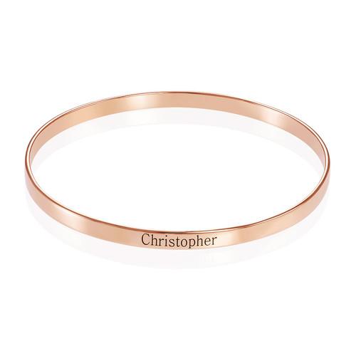 18k Rose Gold Plated Engraved Bangle Bracelet