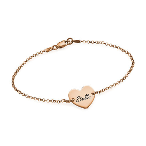 18k Rose Gold Plated Engraved Heart Bracelet