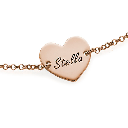 18k Rose Gold Plated Engraved Heart Bracelet - 1