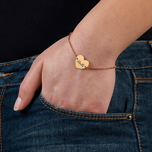 18k Rose Gold Plated Engraved Heart Bracelet - 2