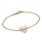 18k Rose Gold Plated Engraved Heart Bracelet