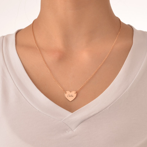 18k Rose Gold Plated Engraved Heart Necklace - 1