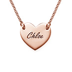 18k Rose Gold Plated Engraved Heart Necklace