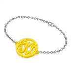 Acrylic Monogram Bracelet - Silver Chain
