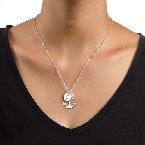 Anchor Jewelry with Initial Charm - 2