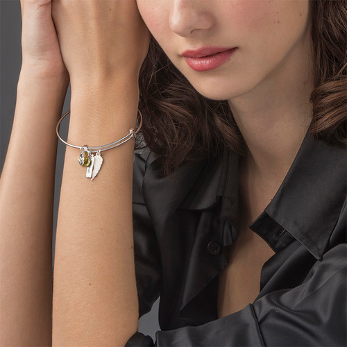 Angel Wing Charm Bangle - 2
