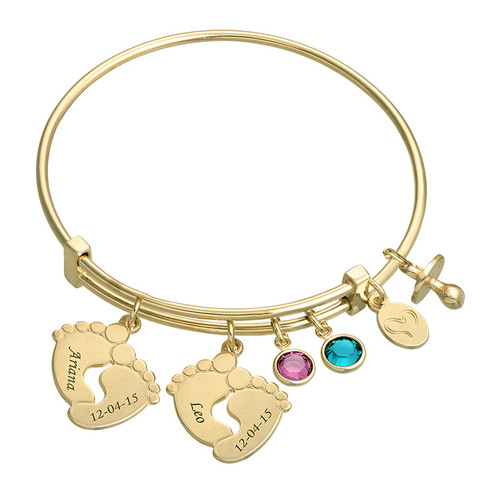 Baby Feet Bangle Bracelet with Gold Plating - 1
