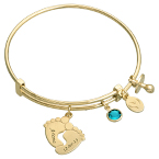 Baby Feet Bangle Bracelet with Gold Plating