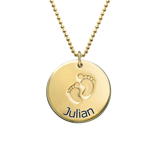 Baby Name Necklace with Footprints - Gold Plated