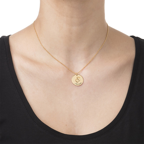 Baby Name Necklace with Footprints - Gold Plated - 1
