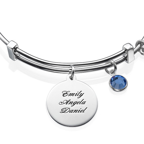 Bangle Bracelet with a Family Tree Charm - 1