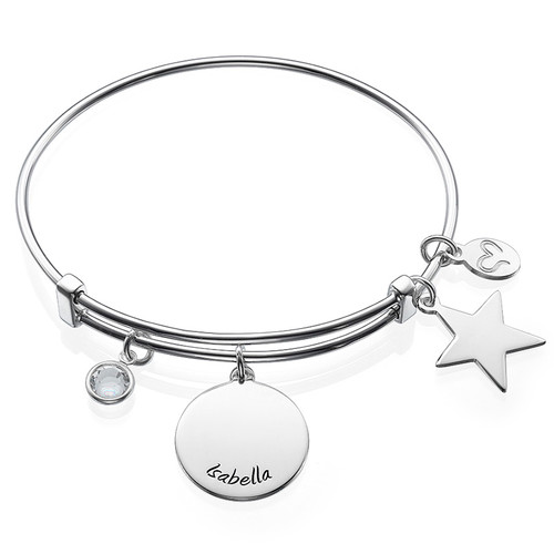 Bangle Charm Bracelet with Engraved Name