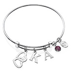 Bangle Charm Bracelet with Intertwined Hearts