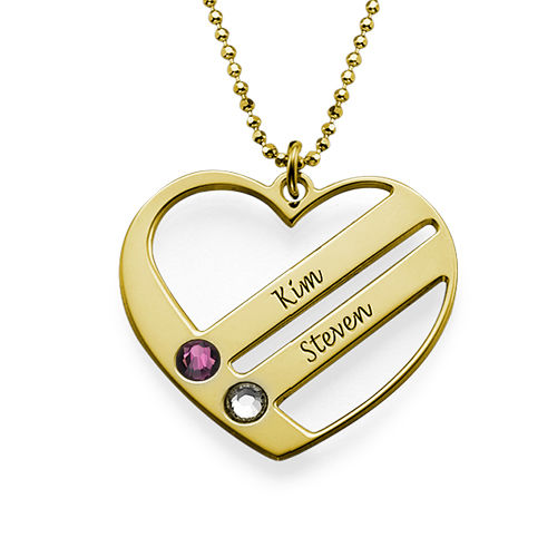Birthstone Heart Necklace with Engraved Names - Gold Plated - 1