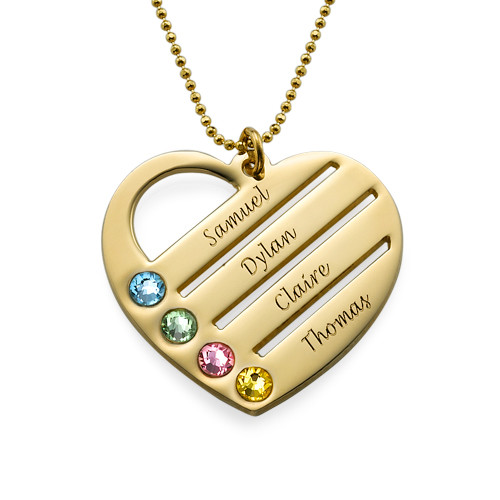 Birthstone Heart Necklace with Engraved Names in 10k Gold