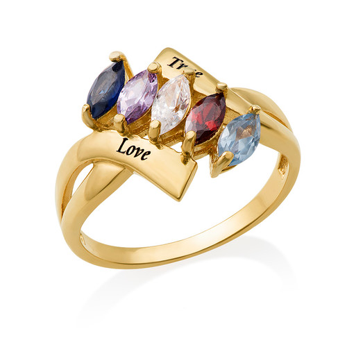 Birthstone Ring for Mom with Gold Plating